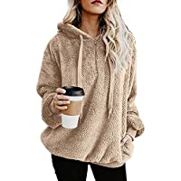 ReachMe Womens Oversized Sherpa Pullover Hoodie with Pockets Fuzzy Fleece Sweatshirt Fluffy Coat