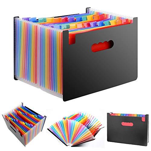 DAMIGRAM ドキュメントスタンド ファイルボックス A4 ドキュメントファイル 書類収納 24分類 オルガン式ファイル 収納ケース 伸縮仕様 大容量 書類入れ