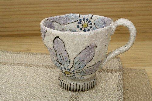 湯呑 ケーキ皿 花柄 「亜福窯」粉引陽花 マグ 小(紫) コーヒーカップ ブルー