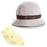 【Ani Mam Kids】ベビー用 帽子 日よけ UVカット 出産祝い バースデー プレゼント 男の子 女の子 可愛い くまさん スタイ ギフトセット (ブラウン×イエロー)
