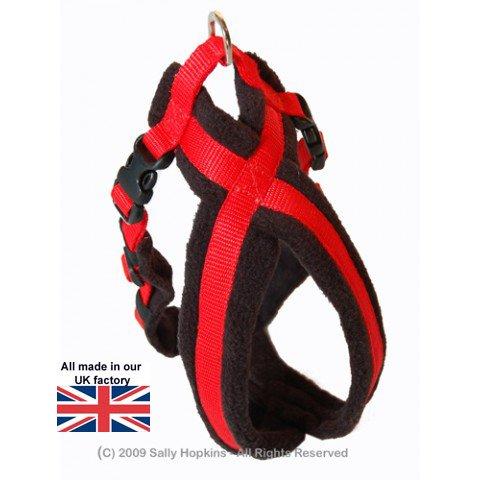 Fleece Lined Harness フリースラインドハーネス ブラックレッド 0号(超小型犬用)