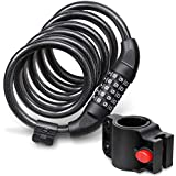 Fosmon Bike Lock Cable (6FT), Heavy Duty 5-Digit Self Coiling Resettable Combination Code, Bicycle Chain Flexible Steel Security Cable Lock with Bike Mount Holder - Black