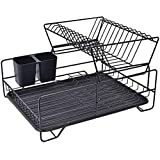 Dish Rack,Dish Drying Rack,2 Tier Dish Rack with Utensil Holder, Cup Holder and Dish Drainer for Kitchen Counter Top (Black)