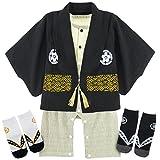 BECOS ベビー 男の子 袴風 ロンパース 端午 子供の日 靴下付き 初節句 (ブラック, 3-6ヶ月)
