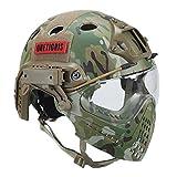 OneTigris 顔保護ヘルメット PJタイプヘルメット ミリタリー風 オリジナル マスク&ゴーグル付属一体型 取り外し可 多機能 (迷彩)