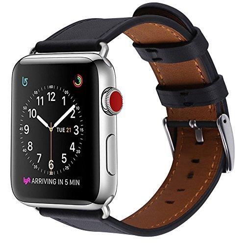 BRG apple watch バンド,本革 ビジネススタイル アップルウォッチバンド アップルウォッチ1 apple watch series 2 apple watch series 3 レザー製 (42mm,ブラック))