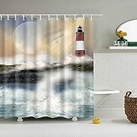 PETSOLA ポリエステル シャワーカーテン 浴室 遮る 飾り 掛けるカーテン 耐水性 全38様式選ぶ - 灯台