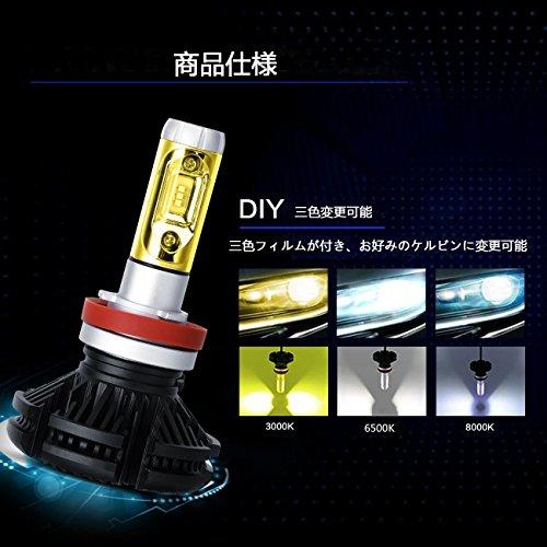 「SUPAREE」 新型 変色可能 車検対応LEDヘッドライト H8 / H11 / H16 兼用 オールインワンタイプ ファンレス フィリップスPHILIPS Lumileds ZES2代目LEDチップ 10連 50W 6500K 6000lm 2個セット 3000K 8000K変色フィルム付き led h8 x3