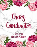Chaos Coordinator 2020-2024 Monthly Planner: Beautiful Floral Marble Monthly Organizer with Inspirational Quotes   5 Year Schedule Agenda & Calendar, Spread View, To-Do's, Holidays, Notes & Vision Board