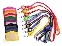 PTC Office 8色付きフェイクレザーPUビジネスIDクレジットカードケースプロテクターバッジホルダー袖with格納式バッジリールクリップラニヤードと首ロープ、水平スタイル、8個