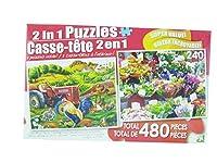 LPF 480ピース2イン1パズル~ On Theファーム&カラフルな市場花( 2x 240pcパズル–Mixed in 1ボックス)