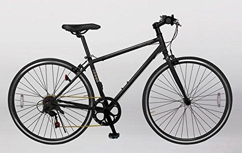 21Technology Crossbike[CL266] クロスバイク シマノ製6段変速ギヤ付き 700×28C (マットブラック)
