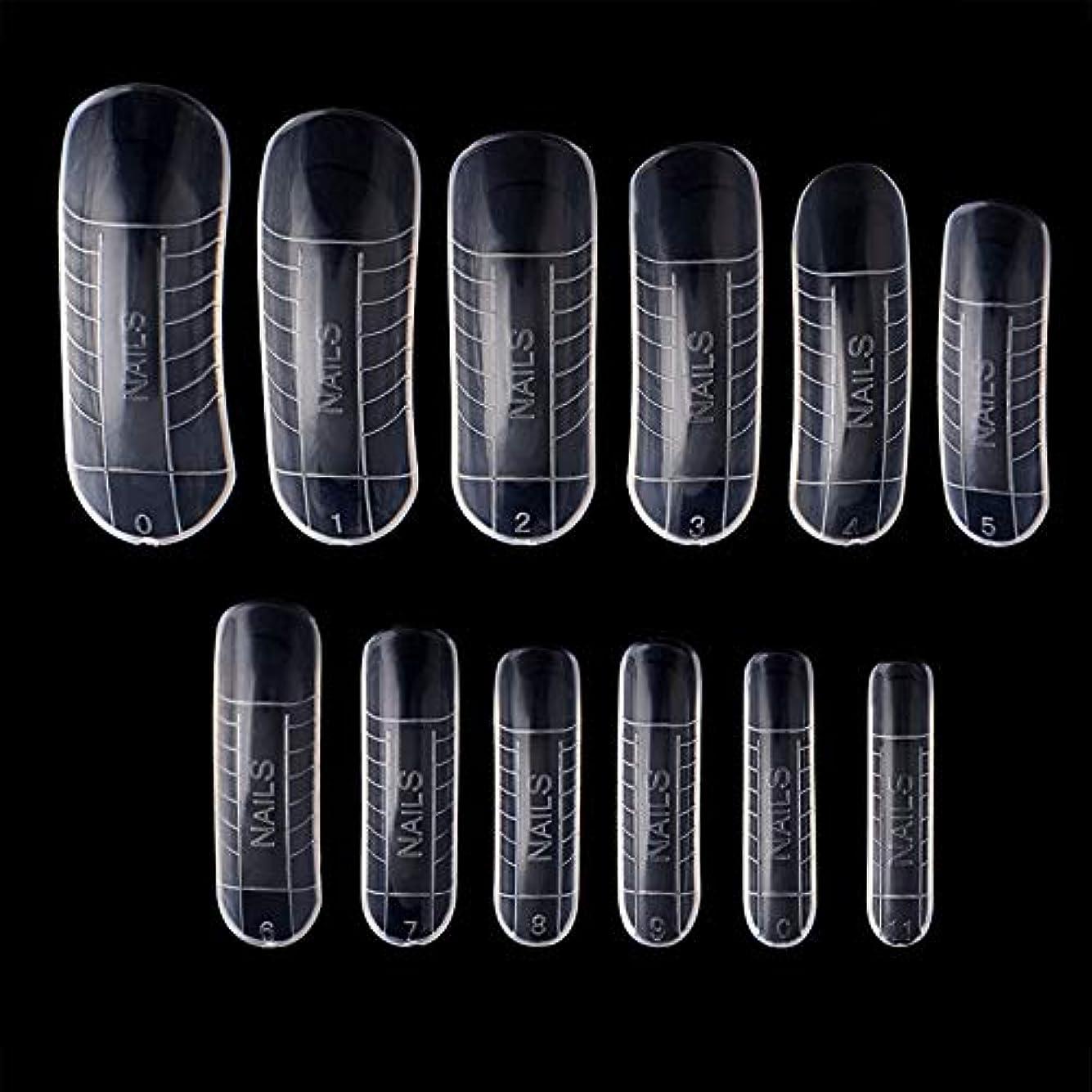洗剤ターミナル卵Kingsie ネイルチップ フォーム 長さ出し クリアネイルチップ ロング ネイルアートツール 透明 メモリ入り ポリジェルツール 12サイズ 120枚セット