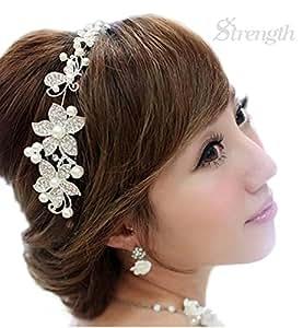 【Strength】 ウェディング 髪 飾り ライン ストーン (ホワイト 白)