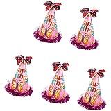 ノーブランド品 5色選択可 誕生日 パーティー キャップ 子供 大人 コーン ちょう結びの帽子 少年少女 写真の小道具 5個 - 20センチメートル, #4