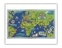 飛ぶ 世界 - R?seau A?rien Mondial (グローバルエアネットワーク) - ルート世界地図フライ - Planishpere - ビンテージな航空会社のポスター によって作成された ルシアン・ブーシェ c.1950 - アートポスター - 28cm x 36cm