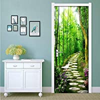 Lcymt 竹林小道3D Diy壁画寝室のドアステッカーウォールペーパー家の装飾現代の壁絵画壁紙壁画-350X250Cm