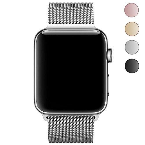 LEEHUR Apple Watch Band ミラネーゼループステンレスマグネット式 金属製交換用時計ベルトアップルウォッチバンド Apple Watch Series 1& Apple Watch Series2& Apple Watch Series 3 (42mmシルバー)