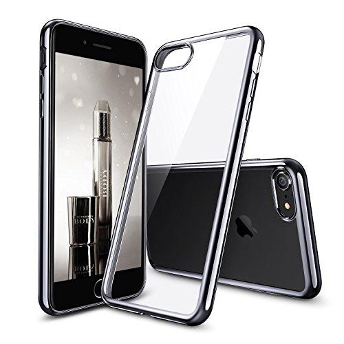 iPhone8 2017 ケース クリア ESR シリコン [ソフト TPU シンプル キラキラ バンパー 衝撃吸収 傷防止] iPhone8 4.7インチ 2017年版専用(ブラック)
