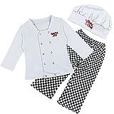 (イーエフイー)EFE コック服 子供用 男の子 3点セット 上着+ズボン+帽子 長袖 ホワイトブラック 80/90/100 ホワイトブラック 100
