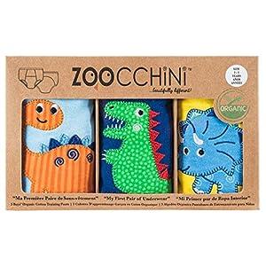 ズッキーニ (Zoocchini)【日本正規品】トレーニングパンツ オーガニックコットンBoys (2T/3T) - 恐竜の仲間 ブルー/ネイビー/イエロー 3枚セット ZOO7003