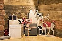 ofila 9x 6ftビニール写真背景ビンテージ木製壁クリスマスプレゼントトナカイHardwood Floor Backdropフォトスタジオ小道具Potraits子供ベビー