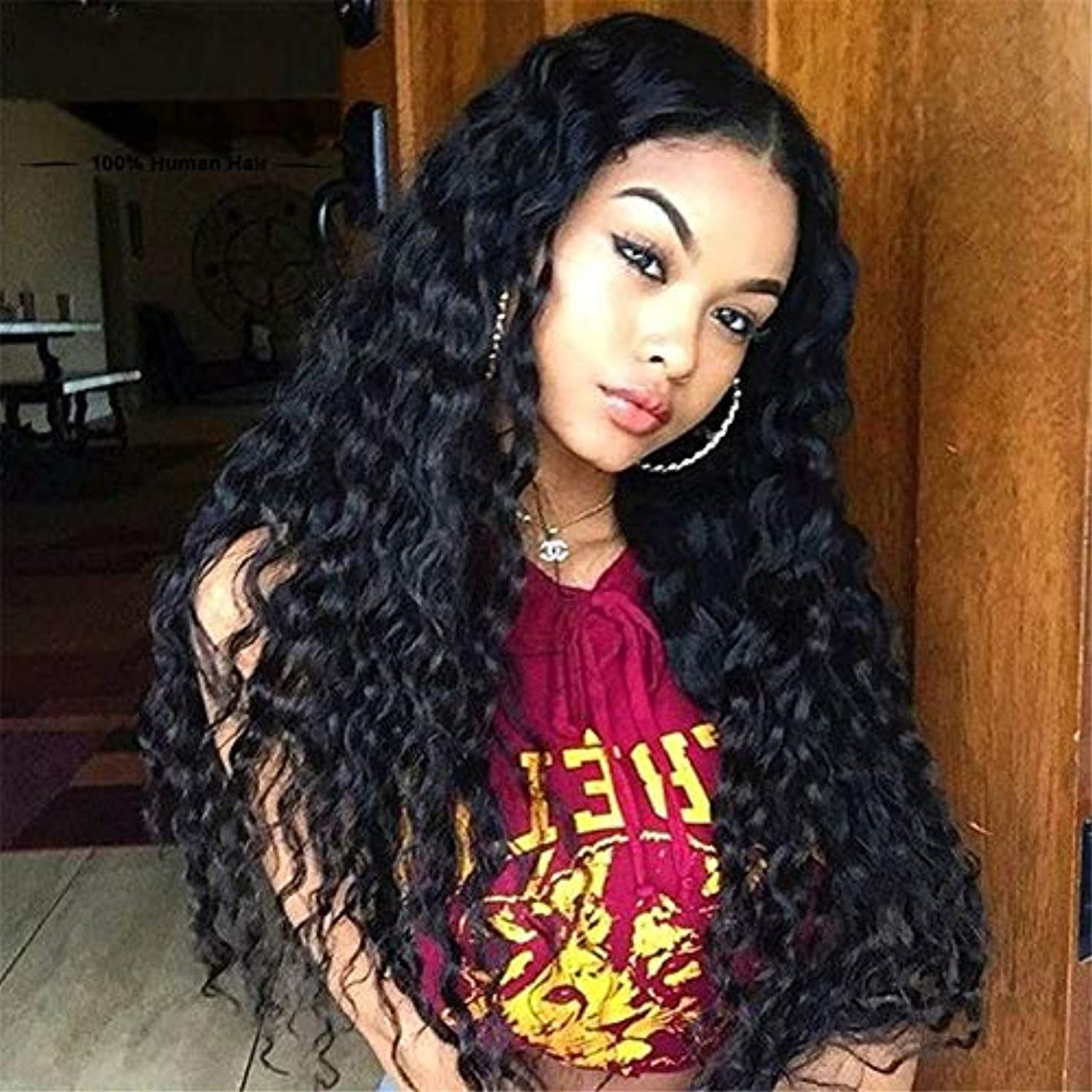 繁殖好む学ぶかつら耐性カーリーカーリーヘアハイライトブラックゴールド女性日記メイク合成パーティーウィッグ21 ''ロールプレイ、ハロウィーンに適したカーリーカーリー人間の髪のかつら