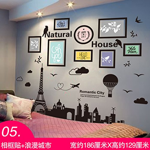 GOUZI Welcoming the creative student hostels decorations of the bed room wall paper self-adhesive, frame-+ romantic city, King Removable wall sticker For Bedroom Living Room Background Wall Bathroom Study Barber Shop