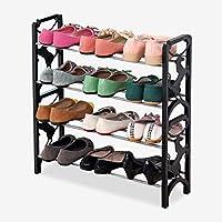 靴ラックシンプルな4階建ての靴のラックシンプルで自由な組み合わせ防塵シェルフの収納靴のキャビネットブラック(靴のラックのみを含む)