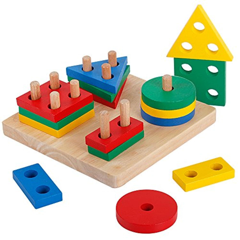 木製幾何学図形Preschool Sortingボード教育ブロックパズルToys for Kids