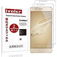 【2枚入り】Huawei Honor 8 強化ガラスフィル iVoler 国産ガラス素材 0.26MM 2.5D ラウンドエッジ加工 9H 耐指紋 自動吸着 気泡ゼロ フロントカメラ穴あり