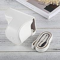 カメラバッグケース、 SonyA5100 / A5000 / NEX-3Nのストラップ付きフルボディカメラPUレザーケースバッグ(16-50mm/ 40.5mmレンズ) (色 : 白)