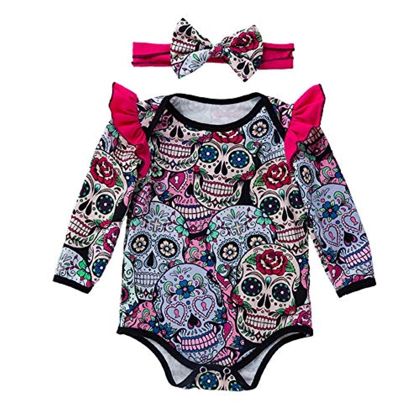 熱帯のコントローラ波紋YukeBaby 0-2歳の子供のジャンプスーツ ハロウィンクリスマス ジャンプスーツ+ヘッドバンド (レッド, 3ヶ月)