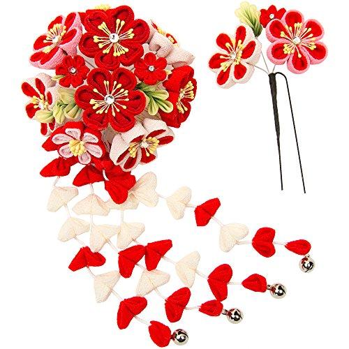 (キョウエツ) KYOETSU成人式 卒業式 花 髪飾り 2点セット つまみ細工 和装 かんざし 7w8200 (赤)