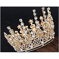 Stylish and Elegant Crown Princess Crown Crystal Big Hoop Crown Performances Birthday Party Senior Royal Treasures Luxury Hair Accessories Headdress Children wsd (Couleur du métal : Or Couleur)