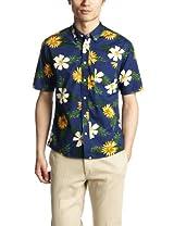 Flower Print Short Sleeve Butttondown Shirt 1216-149-1904: Navy