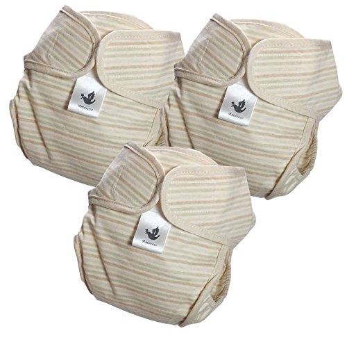 やわらかコットン 自然色 布おむつカバー 3枚組 セット(グリーン,L,70)