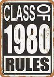 白い桜雑貨屋 ブリキ 看板 Class of 1980 Rules アメリカン 看板 おしゃれ 雑貨 通販 居間、寝室、台所、バー バスルーム 壁飾り20x30cm