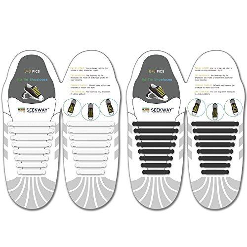 SEEKWAY 靴紐 結ばない ゴム 靴ひも 伸縮 靴紐 メンズ レディース用 ほとけない 靴ひも ほどけない 16pcs NTS001 (ブラック+ホワイト)