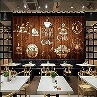 Lixiaoer カスタム壁紙手描きのコーヒーコーヒーカップ壁画カスタムカフェレストランラウンジ木製絵画壁紙-150X120Cm