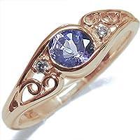 プレジュール K10ピンクゴールド タンザナイト リング 一粒 アンティーク 指輪 10金 リングサイズ6号