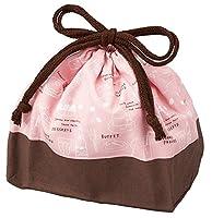 巾着袋 モンカフェ ランチ巾着 ピンク 10×25.5×17 T-16492