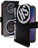 AQUOS sense3 SHV45 SH-02M ケース 手帳型 スピーカー ブラック かっこいい ミュージック スマホケース アクオスセンス3 アクオス センス3 アクオスセンススリー シンス3 アクオスシンス3 手帳 カバー AQUOSsense 3 AQUOSsense 3ケース AQUOSsense 3カバー レザー調 音楽 本革風 シンプル [スピーカー ブラック/t0779c]