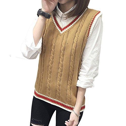 [해외](에후바이호) F × 4 여성 니트 베스트 V 넥 학교 교복 사무실 비즈니스 편안한 민소매 FLT020/(FB 4) Ladies Knit Vest V Neck School Uniform Office Business Loose Sleeveless FLT 020