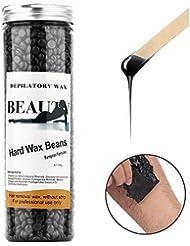 脱毛ワックス ブラジリアン 顔、脇の下、腕、ビキニエリアなどに適している 400g (ブラック)