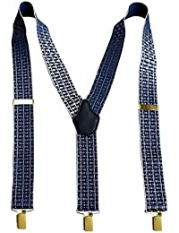 lethatoメンズ35 mm抽象デザインy-back suspender-blue