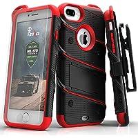Zizo Bolt Case For iPhone 7 Plus プラス ボルト ケース 耐衝撃 スタンド付き 強化ガラス 極薄 0.33mm 硬度 9H 液晶 保護フィルム 付属 7 / 6 / 6s Plus プラス 対応 【正規代理店品 】 ブラック/レッド