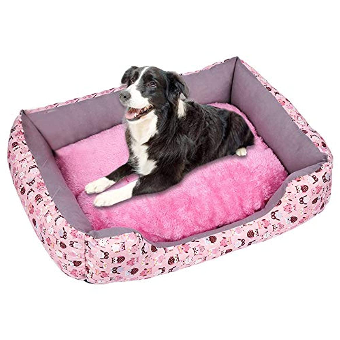 弱い連続的テンポプラスベルベット肥厚ペットの巣 柔らかいペット犬猫ベッド子犬クッションハウスペットソフト暖かい犬小屋犬マットブランケット 犬小屋 ペットハウス ペットネスト 犬舎 柔らかくて温かく 快適で通気性があります (B, S)