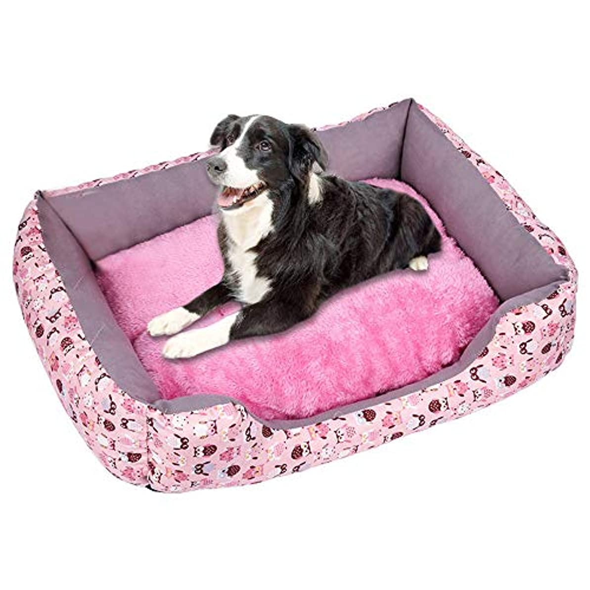壮大な攻撃的行動プラスベルベット肥厚ペットの巣 柔らかいペット犬猫ベッド子犬クッションハウスペットソフト暖かい犬小屋犬マットブランケット 犬小屋 ペットハウス ペットネスト 犬舎 柔らかくて温かく 快適で通気性があります (B, S)