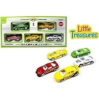 Alloy car models set of 5 sleek vehicles - assorted bright coloured Die-cast racecars